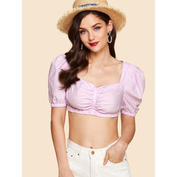 Pink Puff Sleeve Ruched Crop Top