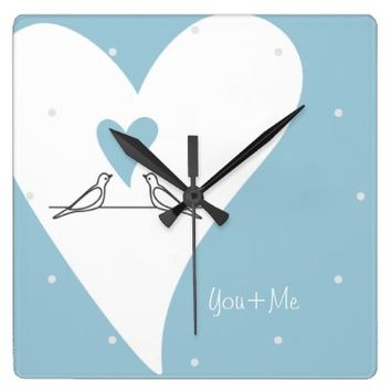 Cute White Doves in Love Personalized Wall Clocks: Name / Message Template: You & Me: Valentine's Day or Wedding Gift Idea