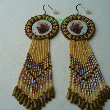 Native American Style Rosette beaded Bear earrings in Carmel and Cinnamon