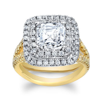 Ladies 18k yellow and white gold engagement ring with 1ct Asscher Cut White Sapphire center 1.10 ctw yellow/white diamonds