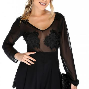 Sexy Black Mesh Embroidered Crochet Sheer Long Sleeve Dressy Romper