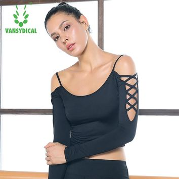 Sexy Crop Top Women Yoga Shirt Elastic Leakage shoulder Dance Long Sleeve Vansydical Girls