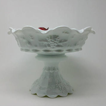 Westmoreland Paneled Grape Milk Glass Large Two Piece Pedestal Bowl