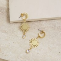 Mini Starburst and Crystal Earrings in Gold