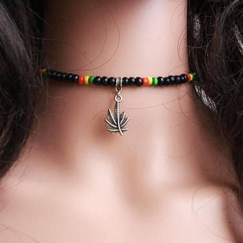 Choker Personalized Choker Rasta Choker Necklace Leather Vegan Suede Custom Color Silver Customize Ganja Valentine Gift Boho Choker 4 mm