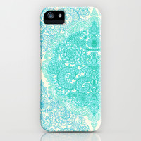Happy Place Doodle in Mint Green & Aqua iPhone & iPod Case by Micklyn