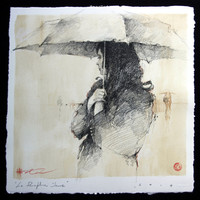 Andre Kohn Le Parapluie Jaune [Andre Kohn_A7178] - $99.00 oil painting for sale|Wonderful artwork|Buy it at once.