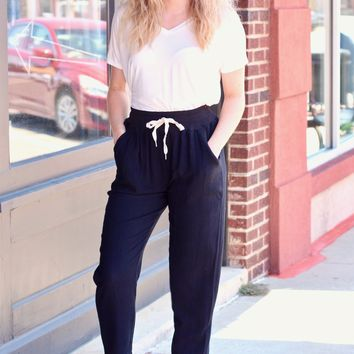 Black Beach Lounge Pants w/ Pockets