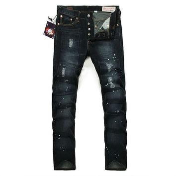 Mens jeans classic hole casual hip hop trousers pants washed  full length mens pants 6005