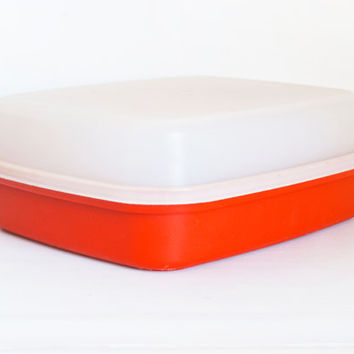 Vintage Orange Tupperware Season Serve Marinating Container, Refrigerator Food Meat Storage Container, Red Orange Paprika