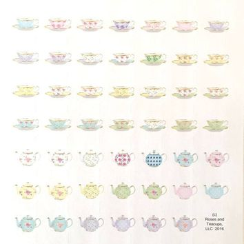 1 Sheet of 62 1-inch Round Gold Trimmed Pastel Tea Cup and Teapot Stickers