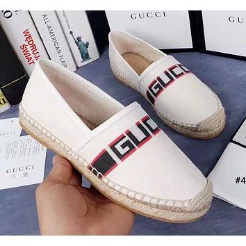 GUCCI tide brand female retro canvas straw thick bottom casual flat shoes fisherman shoes #4