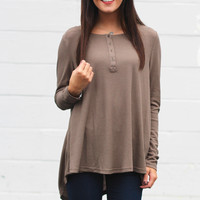 Boyfriend Thermal Knit Blouse {Mocha}