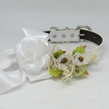 White Rose Floral Dog Collar, Pet Wedding, Flowers, Handmade Gift, Puppy Love