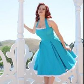 Pinup Couture Blue Ginger Dress XS