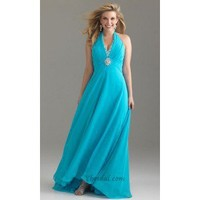 A-Line V-Neck Floor-Length Chiffon and Sequins Prom Dress SAL0941 - Occasion Dresses