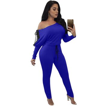 2017 Autumn Sexy Off Shoulder Jumpsuits Long Sleeve Lace Up Rompers Bandage Bodycon Jumpsuit Women Overalls Slim Casual Jumpsuit