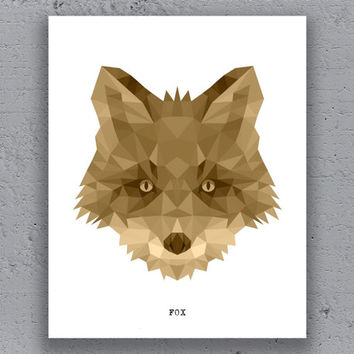 Fox Print Typography Printable Poster Geometric Brown Print Wildlife Polygon Animal Art Retro Art Print Instant Download Digital Print