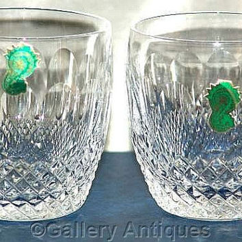 Pair of Waterford Crystal Colleen Pattern Crystal Cut Glass 9oz Old Fashioned Whisky Tumblers Signed and in Original Box (c) (ref: 3178)