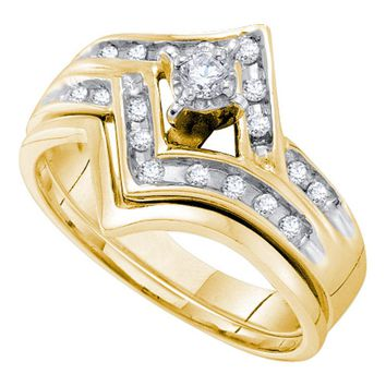 14kt Two-tone Gold Womens Round Diamond Chevron Bridal Wedding Engagement Ring Band Set 1/4 Cttw