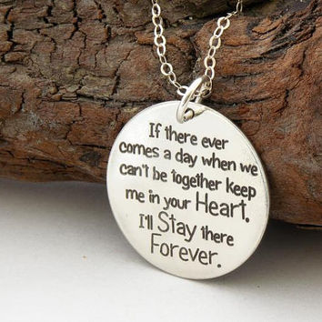 FRIENDSHIP necklace ... If there ever comes a day ... sterling silver ... inspirational quote ... Winnie Pooh