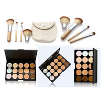 【Buy 1 Get 1 FREE 】Profession 15-Color Concealer Palette & 4pcs Bamboo Handle Brush Kit  Womens Gift