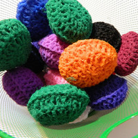 Pot Scrubber Stocking Stuffers: Set of 8 Nylon Crocheted stuffed Scouring Pads for multiple surfaces, nonstick safe