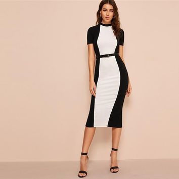 Bodycon Pencil Midi Dress Without Belt Women Stand Collar Weekend Casual Long Sheath Dress