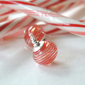 Striped Red Earrings, Light Weight Hollow, Blown Glass Earrings, Holiday Earrings, Christmas Earrings