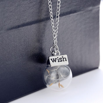 Wish Seeds Bawl Necklace with Silver Chain