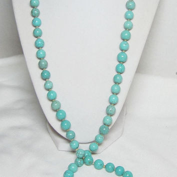 Extra Long Turquoise Necklace Large Beads Chunky Necklace Round Beaded Necklace