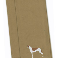 Greyhound Tan Embroidered Kitchen Towel Set of 2 BB3405TNTWE