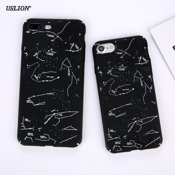 USLION Funny Constellation Phone Case For iPhone 7 Plus Matte Hard PC Cases Simple Black White Back Cover For iPhone7 Plus