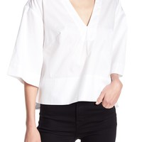 Kendall & Kylie   Lace-Up Back Boxy Blouse   Nordstrom Rack