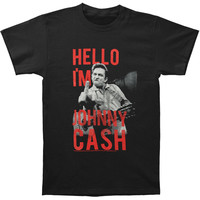 Johnny Cash Men's  Hello I'm Johnny Slim Fit T-shirt Black Rockabilia