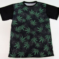 Two Sided Print Marjuana Weed Cannabis Pot Leaf Print Hip Hop Urban Swag Sublimation All Over Print Shirt Tee Shirt Graphic Tee