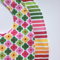Baby Girl Bibs Set (2) - Modern Girl - Flower and Chevron, Triple Layer Bibs, Your Choice Velcro or Snap Closure