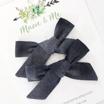 Black Ombre Pigtails Bow | The Cora Bow