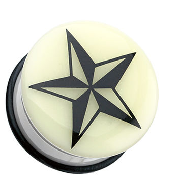Glow in the Dark Nautical Star Single Flared Ear Gauge Plug