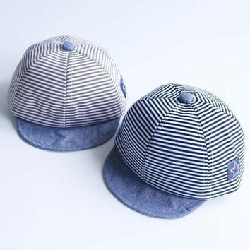 Summer Fashion Cute Baby Striped Hat Cotton Blend Baby Boy Cap Adjustable Infant Hats For Girls 6 18m