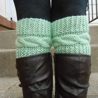 Lace cable Knitted Boot Cuffs - Mint Knit Boot Cuffs - Leg Warmers - Mint - Boot Toppers - Knit Boot Socks