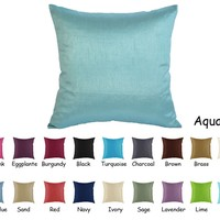 Creative Solid Faux Silk Euro Shams / Throw Pillow Covers 24 by 24 - Aqua