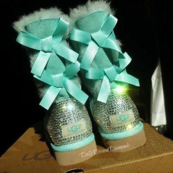 CUPUPS Blinged Out Surf Spray Bailey Bow Uggs w/ Swarovski Crystals- Turquoise Uggs with Cry