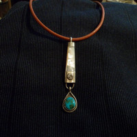 Authentic Navajo Native American Southwestern sterling silver Kingman turquoise and mother of pearl pendant/Necklace