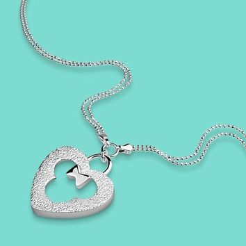 Women's Lovely Solid Silver Necklace Necklace 925 Sterling Silver Heart Mickey Pendant Necklace Girls Fashion Charm Jewelery
