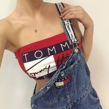 "shosouvenir : ""Tommy Jeans"" Fashion Multicolor Letter Print Sleeveless Women Strapless Crop Tops Vest"