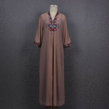 Moroccan Brown Kaftan Dress Summer Beach Pretty Cover Holiday Kaftan Maxi Dress Floral Hand Embroidered Kaftan Dress