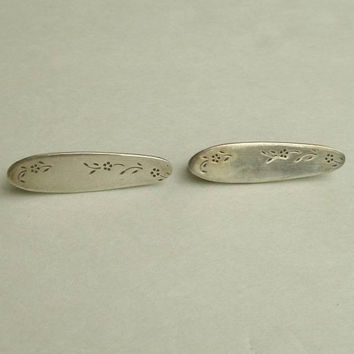 Newport Silver EP Pair of Signed Safety Pin Brooches Vintage Jewelry
