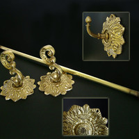 Vintage Solid Brass Towel Rack/Bar & Face Cloth Hook signed Glo Mar Artworks, Ornate Victorian, Baroque
