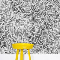 'Grey and white swirls doodles' Wallpaper by Savousepate on miPic